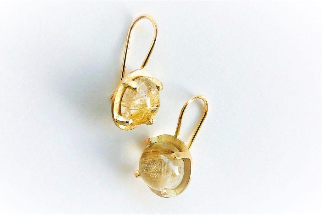 Rutilated quartz 14k gold